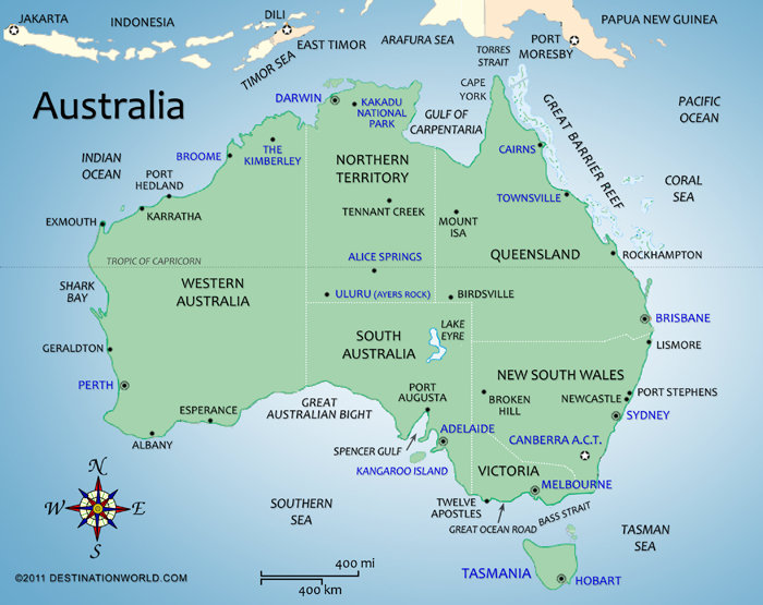 Australia Vacations Map of Australia Destination World – Australian Map of the World